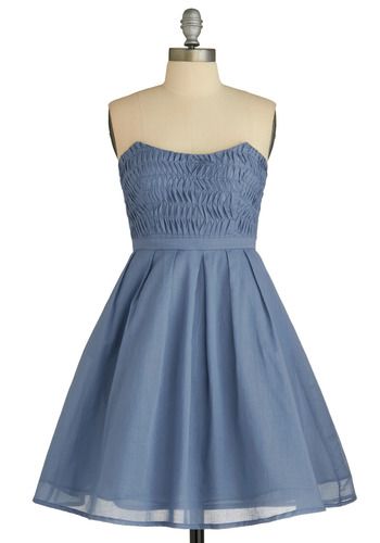 The Pleat Goes On Dress - Blue, Solid, Pleats, Wedding, Party, A-line, Empire, Strapless, Mid-length