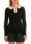 École de Mode Top by Knitted Dove - Black, Tan / Cream, White, Solid, Buttons, Lace, Peter Pan Collar, Work, Casual, Long Sleeve, Fall, Winter, Mid-length