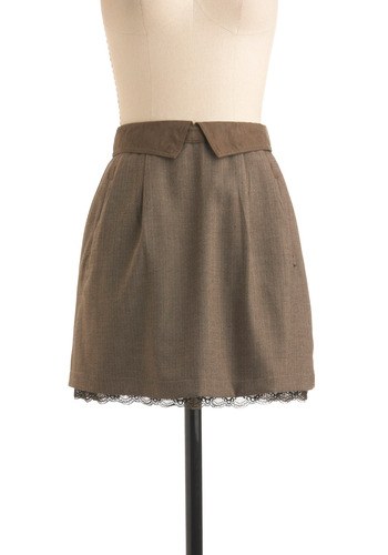 Project Leader Skirt by Gentle Fawn - Brown, Herringbone, Pleats, Pockets, Trim, Party, Work, Fall, Mini, Short