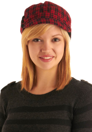 Pedal to the Plaid Hat - Red, Black, Plaid, Buttons, Casual, Urban, Fall, Winter