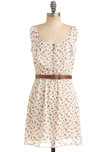 Music Festival Dress - White, Red, Green, Floral, Buckles, A-line, Tank top (2 thick straps), Work, Casual, Spring, Summer, Fall, Short