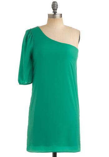 Go Get 'Em-erald Dress - Green, Solid, Shift, Short Sleeves, One Shoulder, Party, Spring, Fall, Short