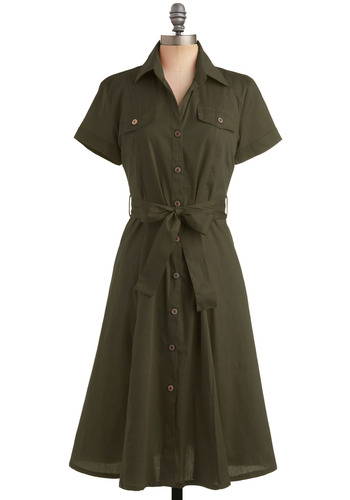 Scout's Honor Dress in Olive - Green, Solid, Bows, Buttons, Pockets, A-line, Short Sleeves, Work, Casual, Military, Spring, Summer, Fall, Shirt Dress, Long