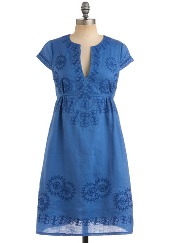 Blue Will Win Dress - Blue, Embroidery, Empire, Cap Sleeves, Casual, Spring, Summer, Fall, Mid-length