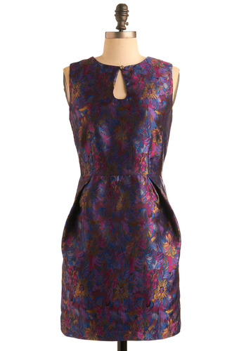 Glimmering Gladiola Dress by Sugarhill Boutique - Purple, Red, Blue, Gold, Floral, Cutout, Exposed zipper, Sheath / Shift, Sleeveless, Formal, Wedding, Party, 80s, Summer, Fall, Mid-length, International Designer