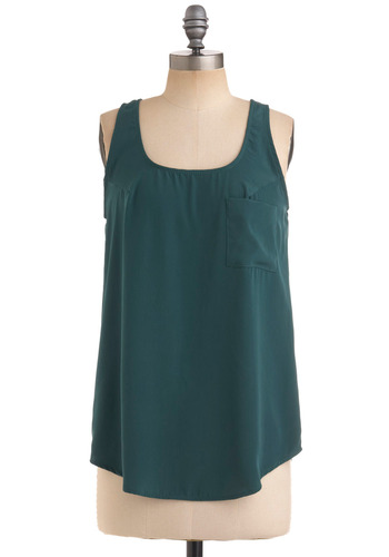Pine to Keep Top - Green, Solid, Pockets, Casual, Spring, Summer, Fall, Tank top (2 thick straps), Mid-length, Scoop