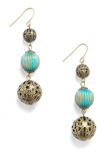 Such Endearing Earrings - Gold, Green