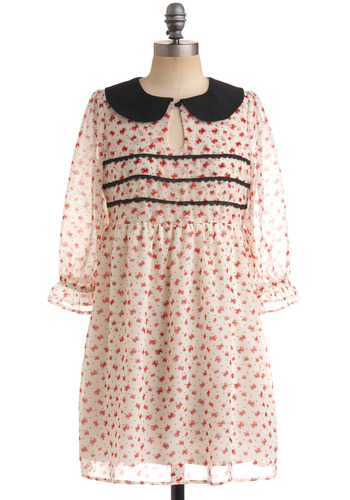 Girlie in the Morning Dress by Sugarhill Boutique - Red, Black, Novelty Print, Buttons, Lace, Peter Pan Collar, Empire, 3/4 Sleeve, Party, Casual, Fall, Mini, Multi, White, Short, International Designer