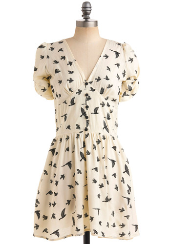Kiting Along Dress by Sugarhill Boutique - Cream, Black, Print with Animals, Buttons, A-line, Short Sleeves, Casual, Mid-length, International Designer