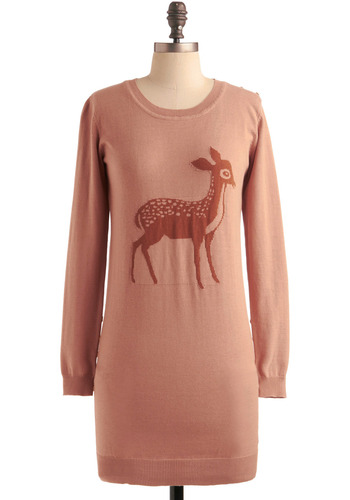 Deer Prudence Tunic by Sugarhill Boutique - Print with Animals, Novelty Print, Buttons, Long Sleeve, Pink, Brown, Casual, Fall, Winter, Long, International Designer