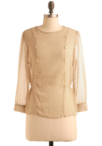 Belle Speck Top by Sugarhill Boutique - Cream, Black, Polka Dots, Buttons, Long Sleeve, Work, Casual, Fall, Cutout, Mid-length, International Designer