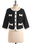 Posh Pursuits Blazer by Knitted Dove - Black, White, Solid, Bows, Buttons, Trim, 3/4 Sleeve, Party, Work, 60s, Short, Spring, 1.5