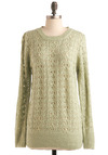 Newly Minted Sweater - Green, Knitted, Long Sleeve, Solid, Casual, Fall, Winter, Mid-length, Crew