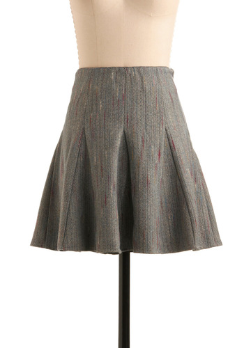 Insider Info Skirt by Nick & Mo - Grey, Multi, A-line, Herringbone, Work, Fall, Winter, Short