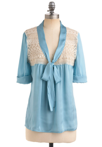 Fashionable Fancies Top - Blue, White, Bows, Lace, Short Sleeves, Solid, Work, Casual, Spring, Fall, Mid-length