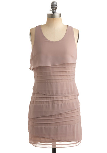 Instant Connection Dress - Solid, Tiered, Shift, Tank top (2 thick straps), Tan, Wedding, Party, Spring, Summer, Fall, Short