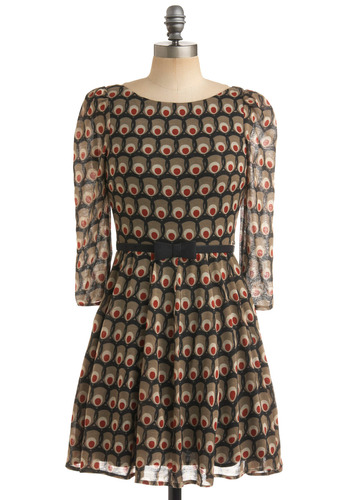 I Want It Olive Dress - Green, Red, Black, Novelty Print, Print, Bows, A-line, 3/4 Sleeve, Tan / Cream, Party, Fall, Mid-length