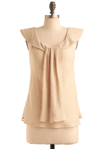 Oracle of Style Top - Cream, Solid, Sleeveless, Pleats, Work, Casual, Spring, Summer, Mid-length