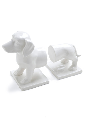 Plot Dog Bookends - White