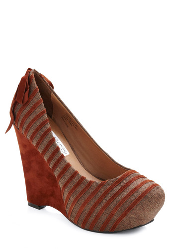 Rusted Rows Wedge - Brown, Tan, Stripes, Bows, Party, Work, Fall, Wedge