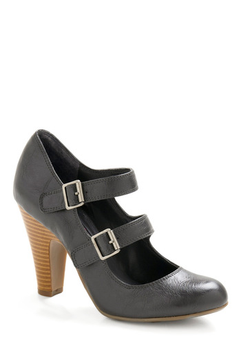 Now You're Walkin' Heel - Grey, Solid, Buckles, Cutout, Party, Fall, 20s