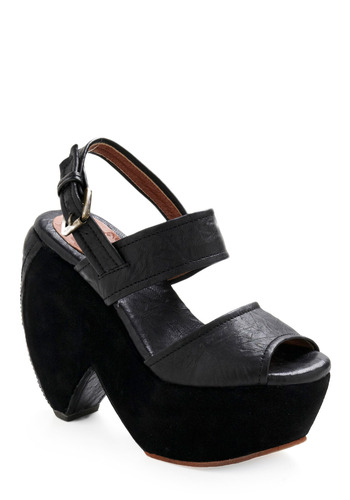Take the Heel and Drive - Black, Solid, Platform, Peep Toe, Slingback, High