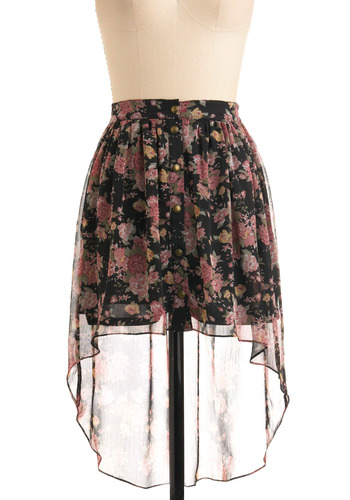 Floating Floret Skirt by Gentle Fawn - Floral, Buttons, Casual, 90s, Summer, Fall, Print, Short, Multi, Pink, Black