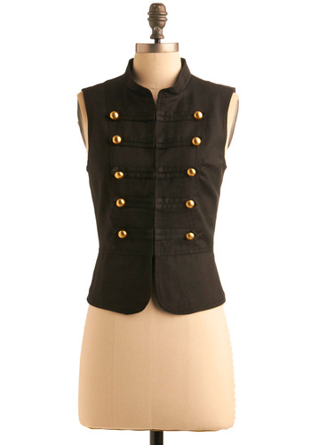 At Attention Vest - Black, Solid, Buttons, Casual, Military, Sleeveless, Menswear Inspired, Short, Steampunk