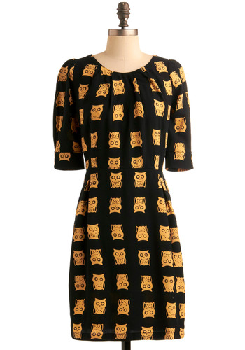 Nature's Wisest Ones Dress by Sugarhill Boutique - Yellow, Print with Animals, Novelty Print, Exposed zipper, Pleats, Sheath / Shift, Short Sleeves, Owls, Spring, Fall, Black, Casual, Mid-length, International Designer