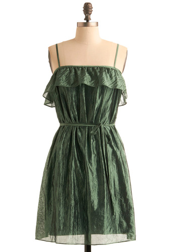 Waterfall of Good Fortune Dress - Green, Ruffles, Party, A-line, Spaghetti Straps, Spring, Summer, Fall, Mid-length