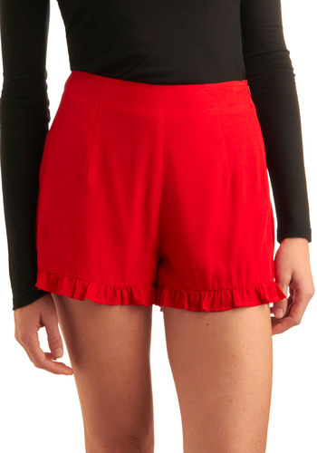 I'm Shorts of In Love - Red, Solid, Ruffles, Casual, Spring, Summer, Nautical, Vintage Inspired, 50s, 60s, Short