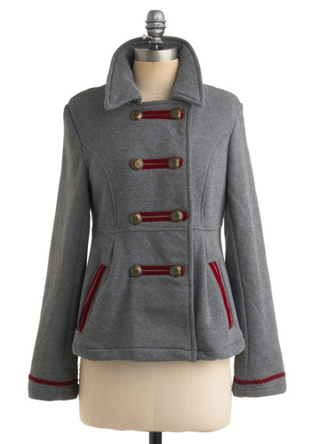 Briga-dear Jacket by Knitted Dove - Grey, Red, Buttons, Pockets, Long Sleeve, Solid, Trim, Military, Fall, Winter, Mid-length, 2