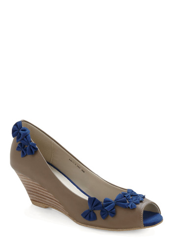 Hide and Peep Toe Wedge - Blue, Tan, Bows, Party, Spring, Fall, Cutout, Wedge