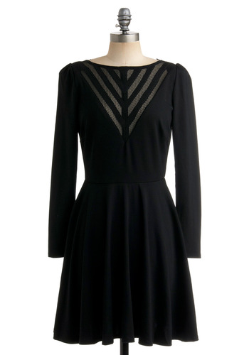 Pardon V Dress - Black, Solid, Backless, Cutout, A-line, Long Sleeve, Party, Winter, Mid-length