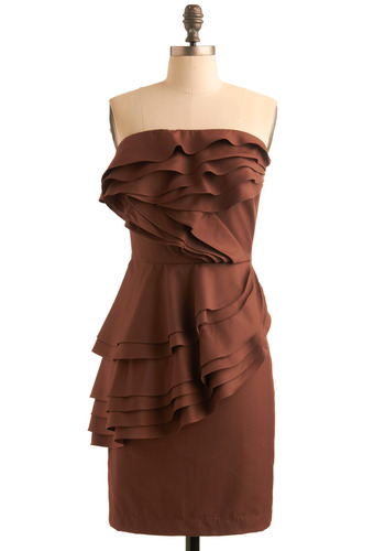 Chocolate T-ruffles Dress - Brown, Solid, Ruffles, Tiered, Sheath / Shift, Strapless, Formal, Prom, Wedding, Party, Spring, Fall, Mid-length
