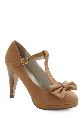No Need to Spree Heel in Tan - Tan, Solid, Bows, Buckles, Cutout, Party, Work, Casual, Vintage Inspired, 30s, 40s, 50s, 60s, Pinup, Mid