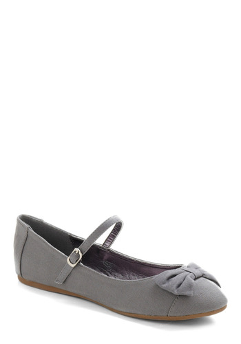 Avoir, Être, Faire Flat in Grammar - Grey, Solid, Bows, Casual, Spring, Summer, Fall