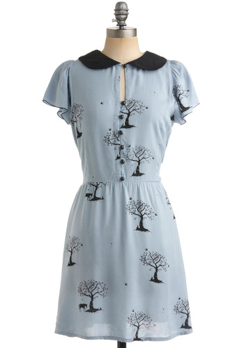 Distant Memory Dress by Sugarhill Boutique - Blue, Black, Print, Buttons, Peter Pan Collar, Casual, A-line, Short Sleeves, Spring, Fall, Mid-length, International Designer