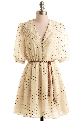 Dress-tined to Be Together - Cream, Novelty Print, Braided, Buttons, Party, A-line, Short Sleeves, Black, Mid-length