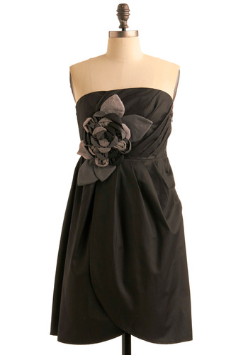 Petal Perfection Dress by Ryu - Flower, Pleats, Empire, Strapless, Black, Grey, Solid, Formal, Wedding, Party, Fall, Prom, Mid-length