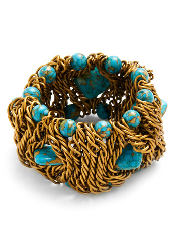 Treasure Nest Bracelet - Gold, Blue, Chain, Party