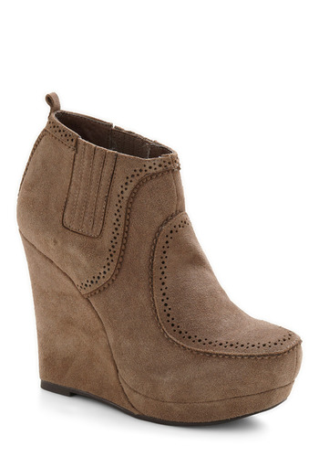 Sand in the Wind Bootie - Brown, Tan, Solid, Casual, Fall, Winter, Wedge