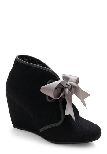 Just Ribbon Around Wedge - Black, Grey, Bows, Solid, Fall, Winter, Wedge