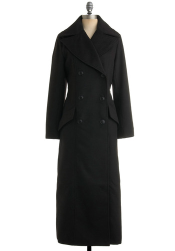 Chi Town Noir Coat by BB Dakota - Black, Solid, Work, Casual, Long Sleeve, Fall, Winter, Press Placement, Long