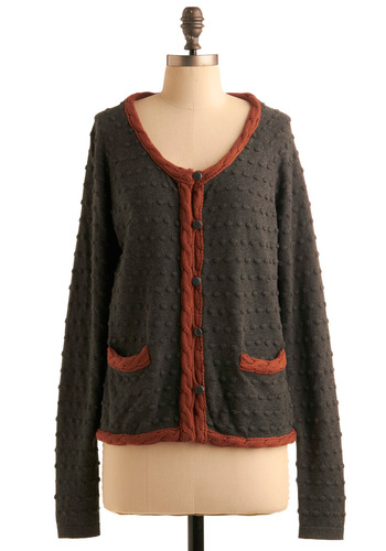 Scrapbooking Nook Cardigan by Nümph - Grey, Orange, Knitted, Casual, Long Sleeve, Fall, Winter, Mid-length