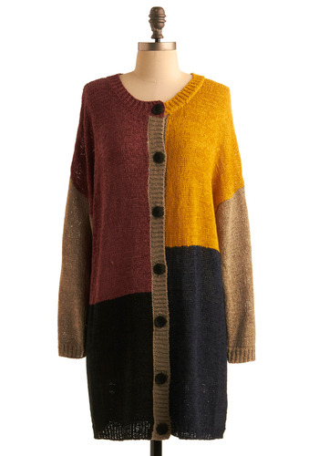 Bold and Controlled Cardigan by Nümph - Buttons, Casual, Long Sleeve, Multi, Red, Yellow, Blue, Brown, Tan / Cream, Black, 80s, Fall, Winter, Long