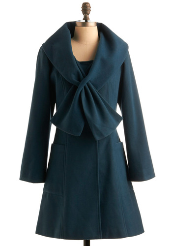 Supper in the City Coat - Blue, Solid, Bows, Casual, Long Sleeve, Party, Fall, Winter, Long