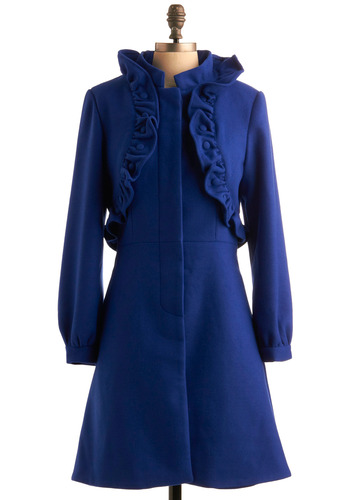 Weather or Haute Coat - Blue, Solid, Ruffles, Long Sleeve, Buttons, Fall, Winter, Long