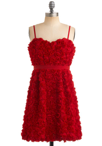 Roses for Every Occasion Dress - Red, Flower, A-line, Empire, Spaghetti Straps, Special Occasion, Wedding, Spring, Summer, Fall, Party, Prom, Short