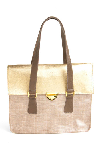 Fashion Luncheon Bag - Gold, Tan, Brown, Plaid, Work, Casual